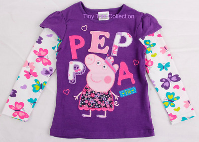 BNWT New with tags girls Peppa pig purple long sleeve top size 1 2 3 4 5