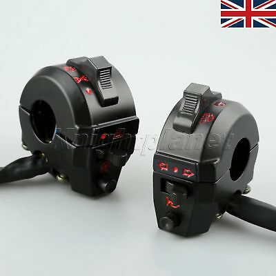 """UK Left Right 7/8"""" Motorcycle Switch Handlebar Horn Turn Signal Light Control"""