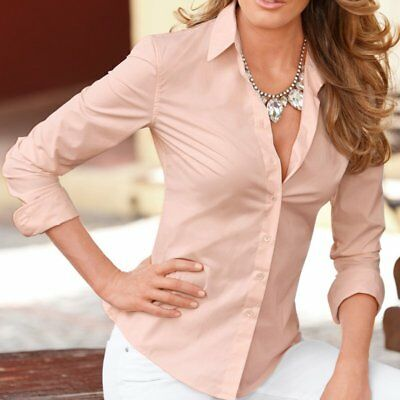 Womens Long Sleeve OL Slim Fit Shirt Button Down Top Casual Business Blouses US