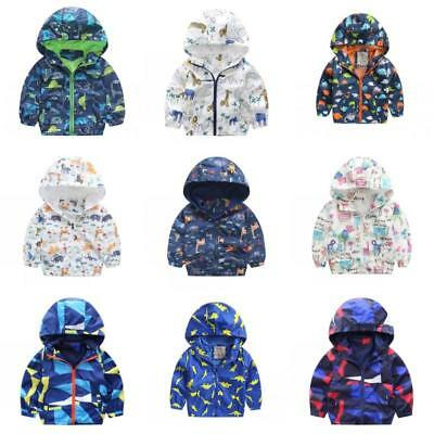 Baby Kid Boy Windbreaker Waterproof Warm Hooded Cartoon Coat Jacket Outwear 1-7Y