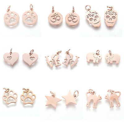 10pcs Rose Gold 304 Stainless Steel Metal Pendants Flat Dangle Charms 12 Style