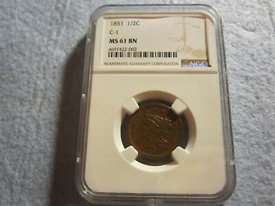 1851 Braided Hair Half Cent NGC Graded MS61 (Mine State 1/2C)