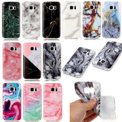 Granite Marble Pattern Soft TPU Rubber Case Cover For Samsung Galaxy S7 Edge