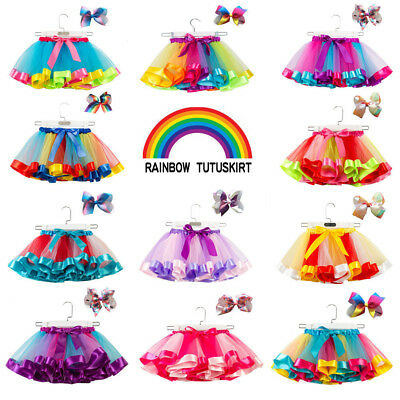 Layered Ballet Rainbow Tutu Skirt for Little Girl Kids with Colorful Hair Bows