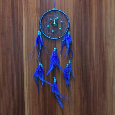 Handmade Dream Catcher with Feather Wall or Car Hanging Decoration Ornament Blue