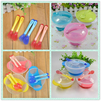 1 Set Baby Non-slip Bowl Tableware Suction Bowl Feeding Temperature Spoon Set