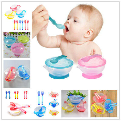 1 Set Non-slip Bowl Tableware Baby Suction Bowl Feeding Temperature Spoon Set