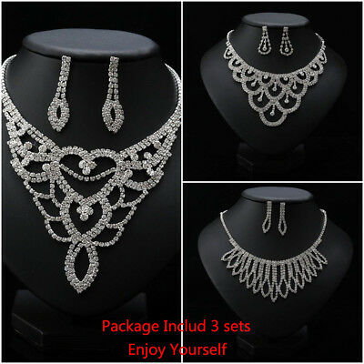 3Sets Women Bridal Wedding Crystal Pearl Necklace Rhinestone Earring Jewelry Set
