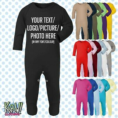 Custom Personalised Baby Grow ROMPER Sleep Suit Gift-18 colours-Choose text/logo