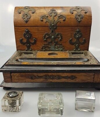 ~CC~ Antique ~ Carved Wooden ~ Ink Well / Writing ~ Desk ~ Stand ~ Secret Drawer