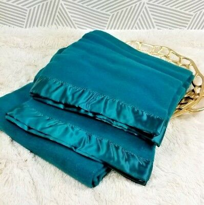 """Vintage Faribo 100% Wool Blanket with Satin Trim Emerald Green NOS NEW 68"""" x 92"""""""