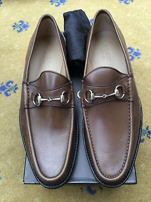 46d21352624 New Gucci Mens Shoes Brown Leather Horsebit Loafers UK 9.5 US 10.5 EU 43.5