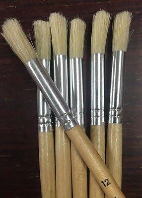 PAINT BRUSHES, Size 12, Set of 6, Hog hair