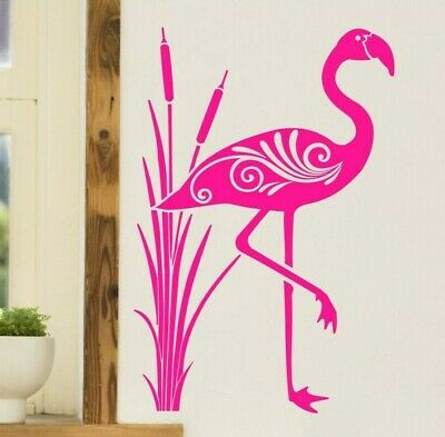 Art Deco Flamingo Bird Matt Vinyl Sticker Wall Art Fridge Furniture Decor Decal