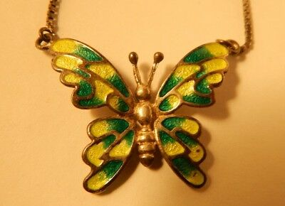 Vintage Sterling Silver Enamel Butterfly Necklace Italian Quality Piece Signed