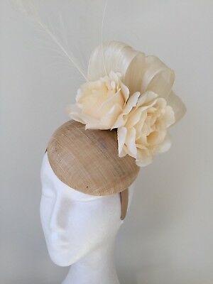 NEW Cream fascinator with loops, flowers and feathers on a headband!