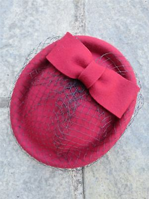 Vintage Authentic 1940/'s Style Red 100/% Wool Felt Half Hat With Feather Trim