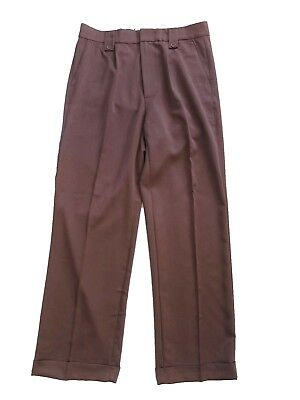 1940s Vintage Style Brown Fishtail Look Trousers With Turn Up Hems