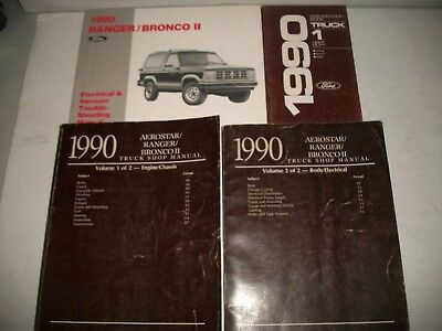 1990 Ford Ranger & Bronco Ii Shop Manual Set W/ Evtm & Specifications Very Clean