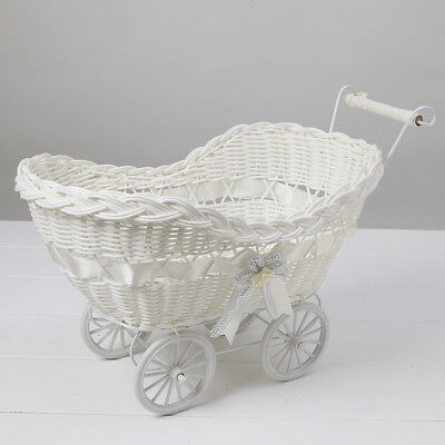 Wicker Hamper Pram Basket Natural Baby Shower Christening Gifts Storage