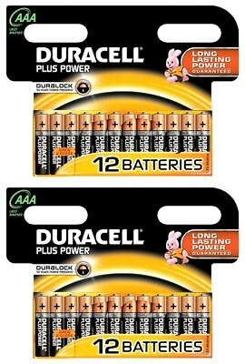 24 x AAA Duracell Plus Power 1.5V Alkaline Batteries LR03 2024 Expiry