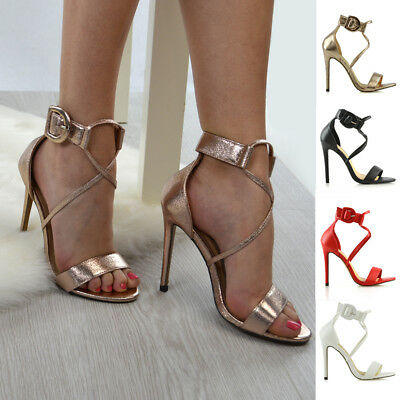 0117a6cfc081 Womens Strappy Stiletto Ankle Strap Sandals Ladies Open Toe Party Shoes  Size 3-8
