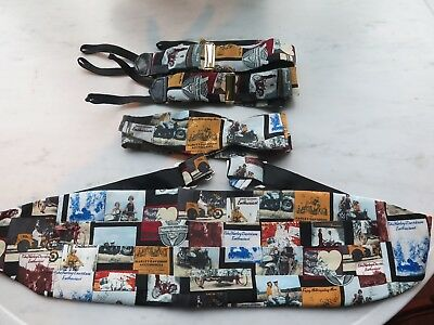 Harley Davidson Enthusiast Cummerbund, Bow tie and Suspenders 100% Silk