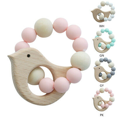 Baby Teething Bracelet Toy Wood Silicone Beads Baby Rattle Stroller Accessories