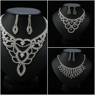 Rhinestone Crystal Pearl Necklace Earrings Jewelry Set For Bridal Wedding Party