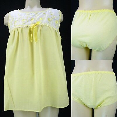 Vintage 70s Yellow Babydoll Nightgown Set w/Matching Panties Size S Durelle