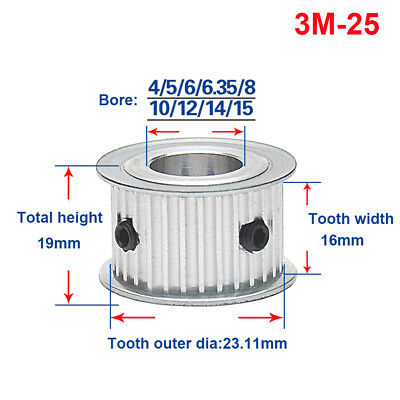 3M25T Timing Belt Pulley Gear Synchronous Wheel Bore 4-15mm For 15mm Width Belt