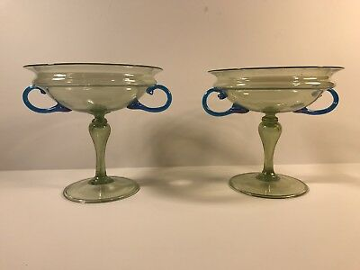 Matched Pair Of Older Antique Murano Glass Compotes Venitian Italian