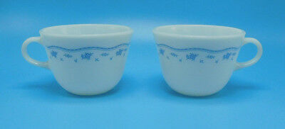 SET OF 2 Vintage Pyrex Coffee Cups Mugs Morning Blue Design