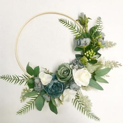 Floral Wooden 30cm Hoop Wall Hanging - Blue & Ivory