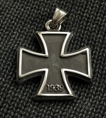 Iron Cross Pendant 1813 / 1939 Necklace Stainless Steel Reversible Ww2 German