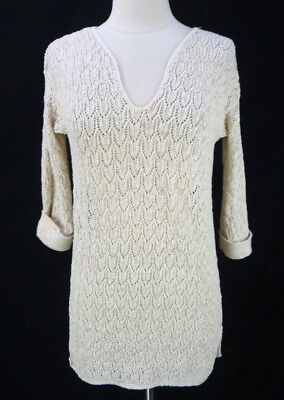 757b9c49360 Vintage 80s Heather Beige Open Knit V-Neck Tunic Sweater Size M Cable Leaf  Tan