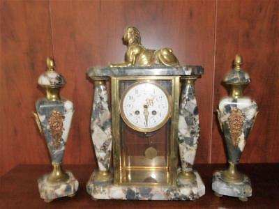 Antique French Egyptian Revival Marble Clock Ormolu Sphinx Two Obelisks C 1890