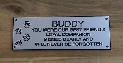 Silver Effect Pet Memorial Bench Plaque (Dogs & Cat paw prints)