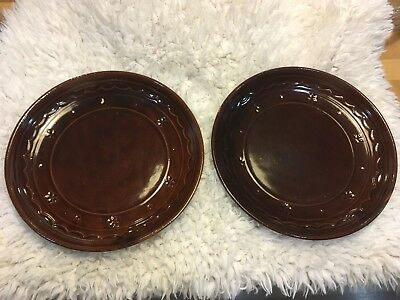 2 Marcrest stoneware Daisy and Dot pattern dinner plates.