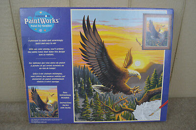 "Dimensions Paint Works Paint By Number Kit Landing Eagle 16"" x 20"" New Unused"