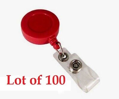 [Lot of 100] Red 1.25'' Retractable Badge ID Reel with Vinyl Strap & Belt Clip