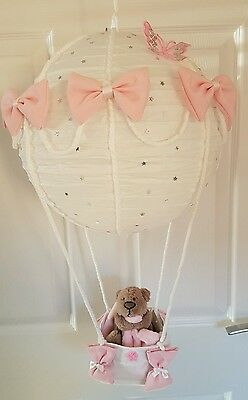 Hot Air Balloon Light Shade With Teddy comforter Looks Stunning In Nursery Baby