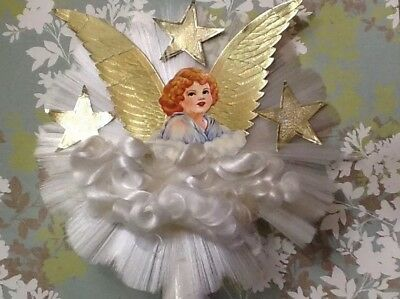 Vtg Christmas Tree Topper Angel Hair Spun Glass Dresden Stars Wings