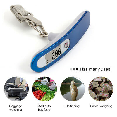 110lb / 50Kg Luggage Scale Digital Portable Travel Weight Scale LCD Screen Blue