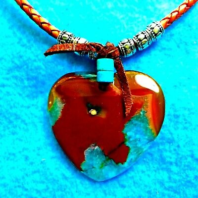 #120 Red Heart Multi-Colors+ Druzy Crystals+ Woven  Leather Necklace+Native Made