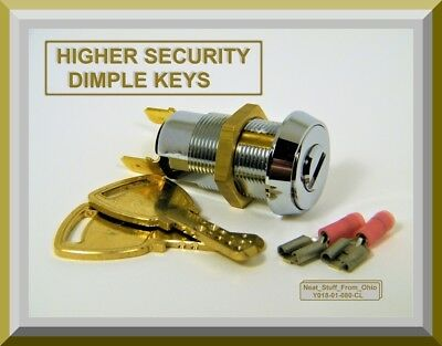 Alarm Key Switch - Two Higher-Security Dimple Keys, Momentary, Spst 4Amp@125