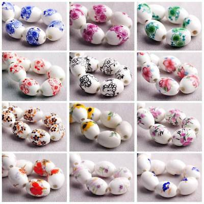 10pcs 18x12mm Oval Flower Pattern Loose Spacer Ceramic Porcelain Beads Jewelry