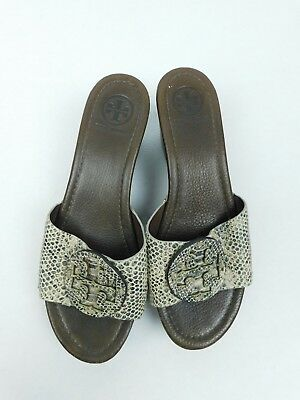 15b66ce31cf1 Tory Burch Womens Patti Wedge Slide Open Toe Sandals Leather Heels Size 8  Snake