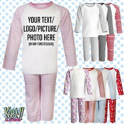 Custom Personalised Kids Baby Pyjamas PJs Raglan Sleep Night Wear Gift Toddler 1