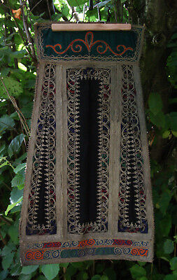 GREEK ANTIQUE TRADITIONAL HANDMADE KARAGOUNA BLACK WEDDING APRON circa 1935 !